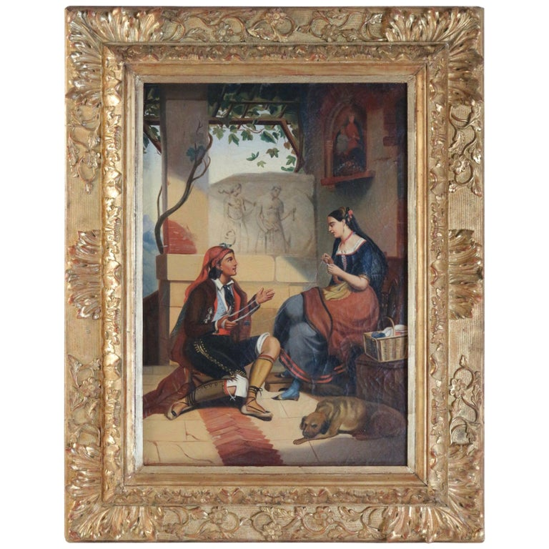 """Romantic Period 19th Century """"The Spinner"""" Sign by Labatie, circa 1830-1850 For Sale"""