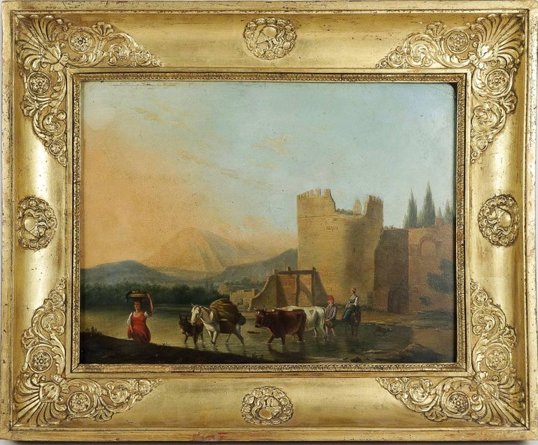 """A lovely Romantic Italian painting. Oil on panel depicting """"an Italian rural landscape with the shepherd and the shepherdess crossing a river with their herd."""" Impressive set of colors which make this painting warm.  Original giltwood"""