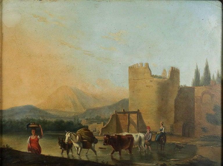 Oiled Romantic Period, Italian Landscape, Oil on Panel, circa 1830-1840 For Sale