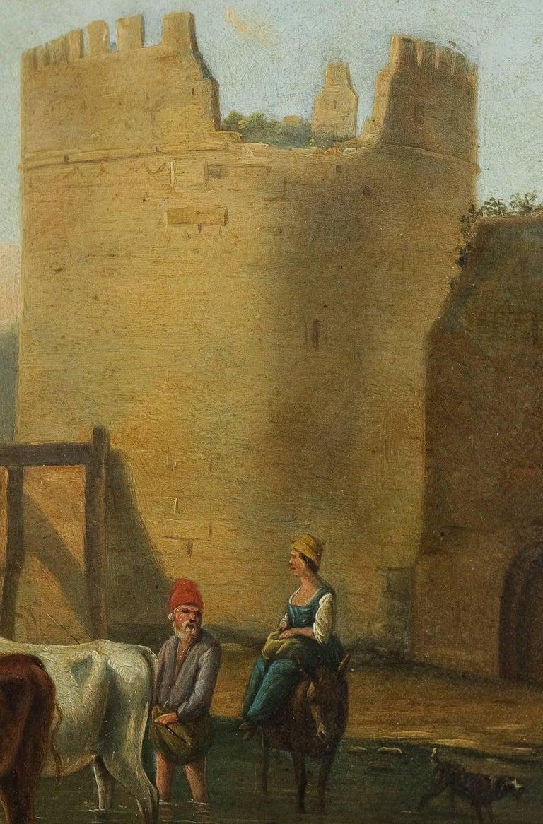 Early 19th Century Romantic Period, Italian Landscape, Oil on Panel, circa 1830-1840 For Sale