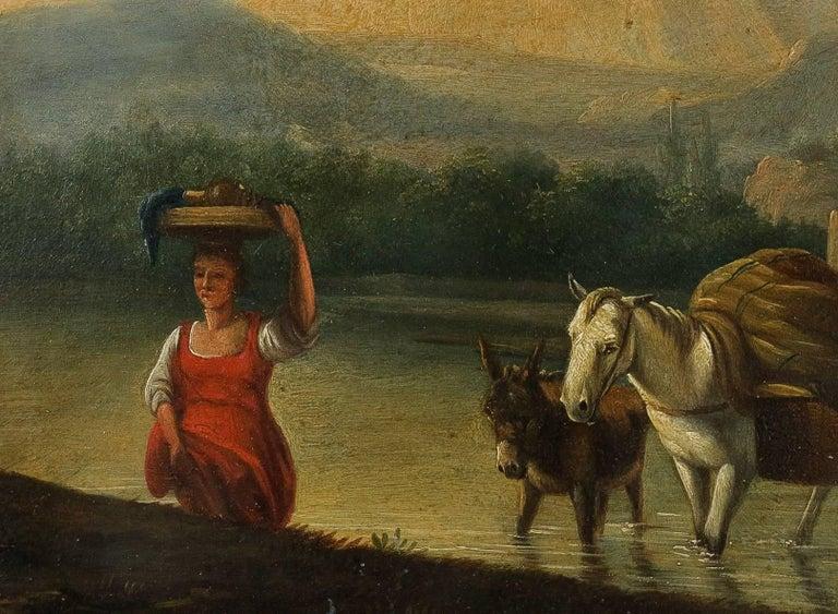 Paint Romantic Period, Italian Landscape, Oil on Panel, circa 1830-1840 For Sale