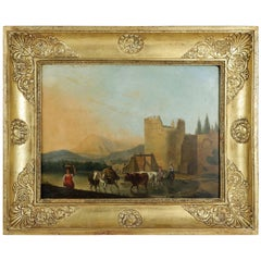 Romantic Period, Italian Landscape, Oil on Panel, circa 1830-1840