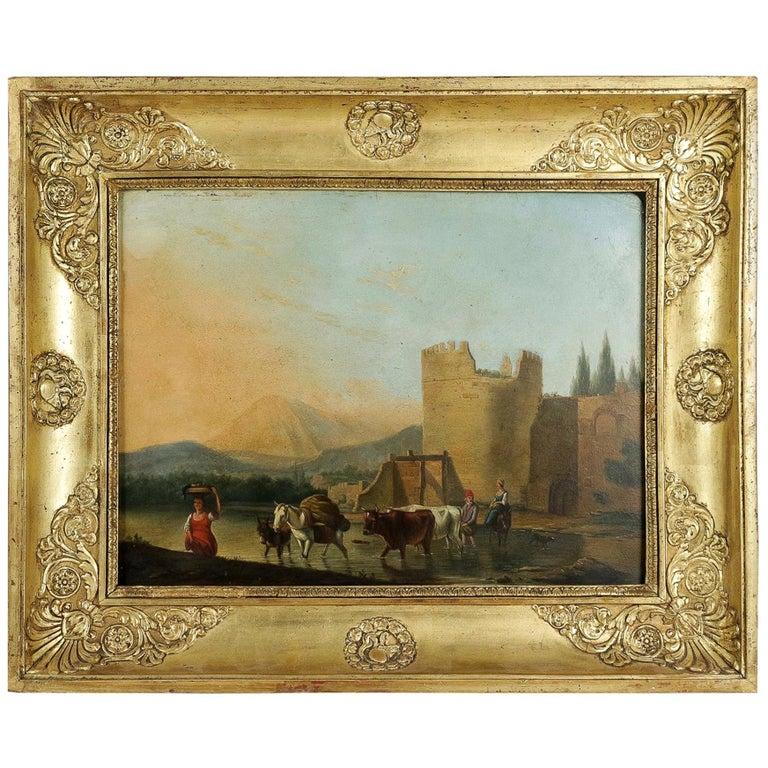 Romantic Period, Italian Landscape, Oil on Panel, circa 1830-1840 For Sale