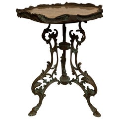 Romantic Scalloped Marble Top and Bronze Side Table