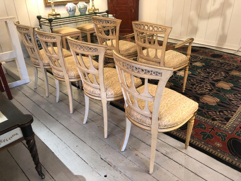 Romantic Set of 6 Italianate Style Dining Chairs For Sale 9