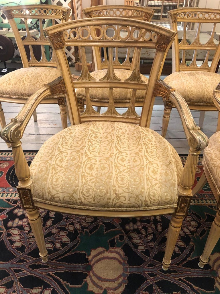 Painted Romantic Set of 6 Italianate Style Dining Chairs For Sale