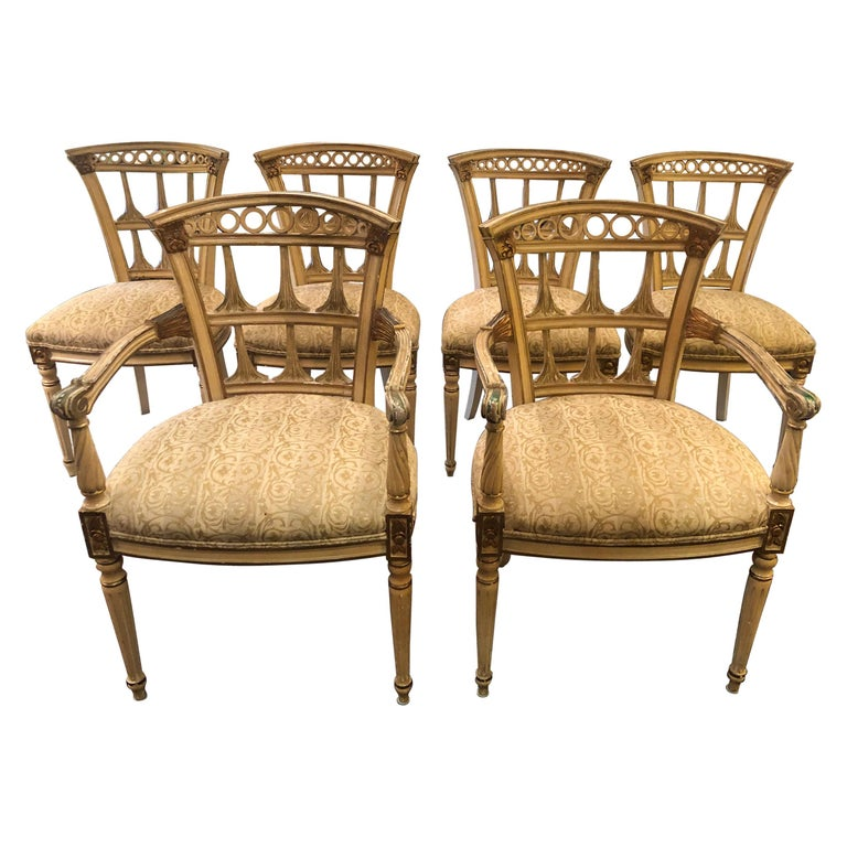 Romantic Set of 6 Italianate Style Dining Chairs For Sale