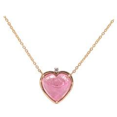 Romantic Style 18 Karat Gold Pink Tourmaline Diamond Heart Pendant Love Necklace