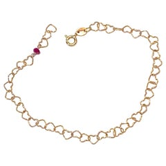 "Romantic Style 18 Karat Yellow Gold 0.32 Karat Red Ruby ""Little Hearts"" Bracelet"