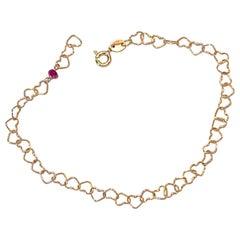 "Romantic Style 18 Karat Yellow Gold 0.32 Karat Red Ruby ""Little Hearts"" Bracelet"