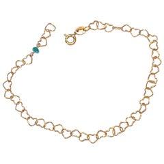 "Romantic Style 18Karat Yellow Gold 0.35Karat Emerald ""Little Hearts"" Bracelet"