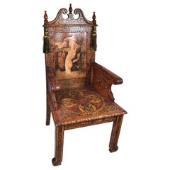 "Romantic Unique Hand Decorated ""Throne Chair"" Arts & Crafts Rhode Island"