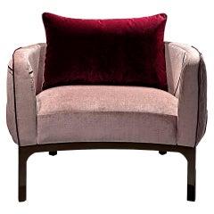 Romantic Velvet Contemporary Armchair in Pink Velvet by Luísa Peixoto