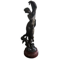 Romantic Very Fine 19th Century Bronze Figure with Putti on Marble Base