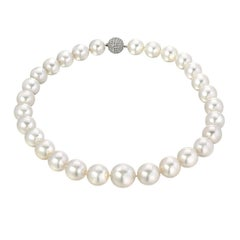 Romantic White South Sea Cultured Pearl Diamond White Gold Necklace