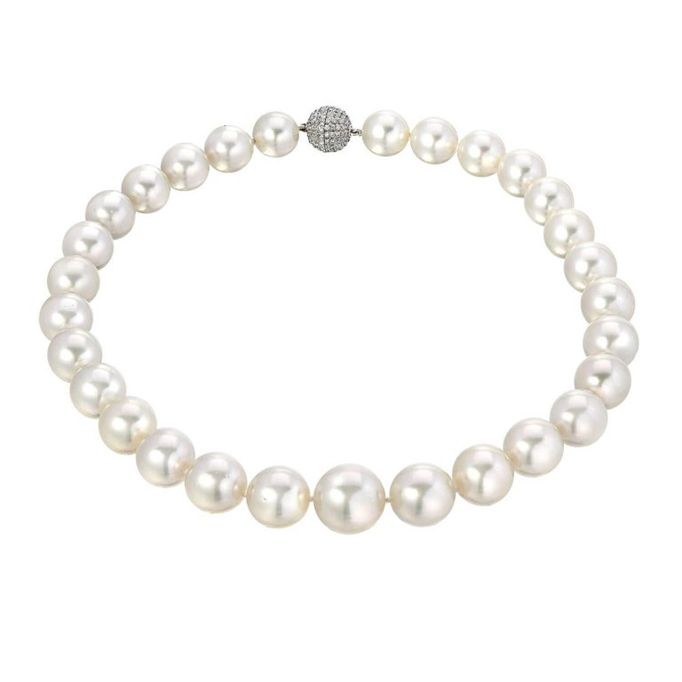 Romantic White South Sea Cultured Pearl Diamond White Gold Necklace For Sale