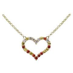 Romantic Yellow Orange Sapphire Diamond Yellow Gold Empty Heart Necklace