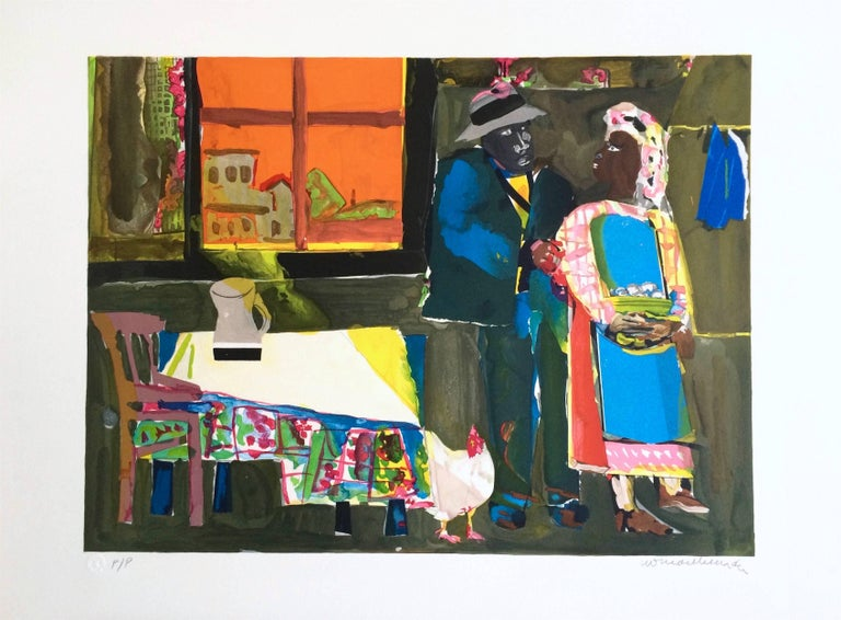 AUTUMN OF THE ROOSTER Signed Lithograph, Collage, African American Culture - Print by Romare Bearden