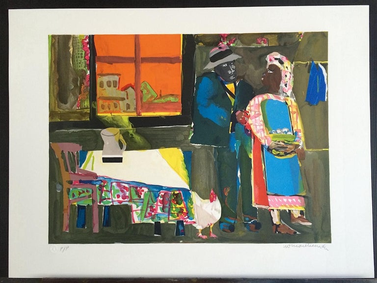 AUTUMN OF THE ROOSTER Signed Lithograph, Collage, African American Culture - Contemporary Print by Romare Bearden