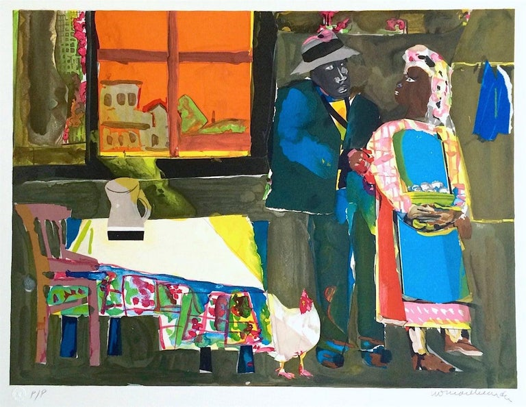 Romare Bearden Interior Print - AUTUMN OF THE ROOSTER Signed Lithograph, Collage, African American Culture