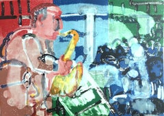 BOPPING AT BIRDLAND (STOMP TIME) Signed Lithograph, Abstract Jazz Portrait, Sax