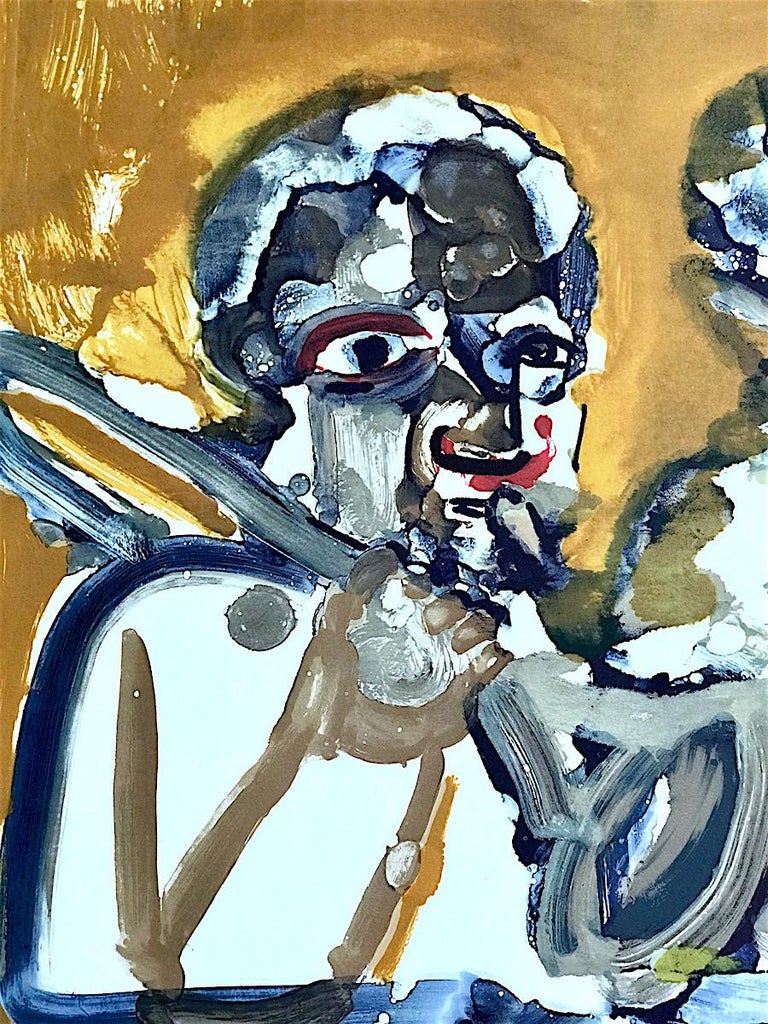 BRASS SECTION  Signed Lithograph, Abstract Portrait, Jazz Music Hornplayers  - Print by Romare Bearden