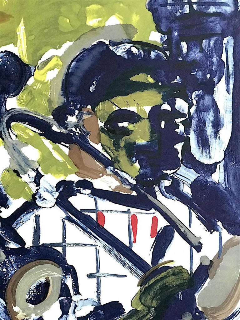 BRASS SECTION  Signed Lithograph, Abstract Portrait, Jazz Music Hornplayers  - Brown Portrait Print by Romare Bearden
