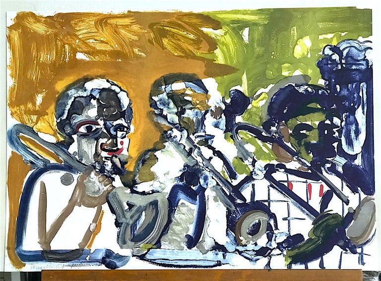 BRASS SECTION  Signed Lithograph, Abstract Portrait, Jazz Music Hornplayers  For Sale 1