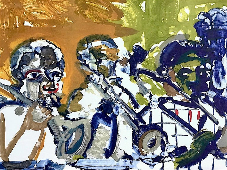 Romare Bearden Portrait Print - BRASS SECTION  Signed Lithograph, Abstract Portrait, Jazz Music Hornplayers