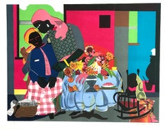 MORNING Signed Lithograph, Interior Scene Black Women, African American Culture