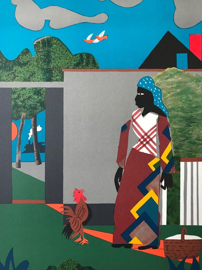 PEPPER JELLY LADY Signed Lithograph, Color Collage, African American Culture - Print by Romare Bearden