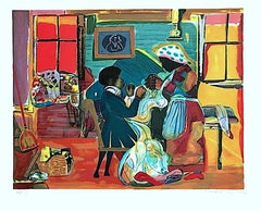 QUILTING TIME Signed Lithograph, African American Culture, Interior Scene, Quilt