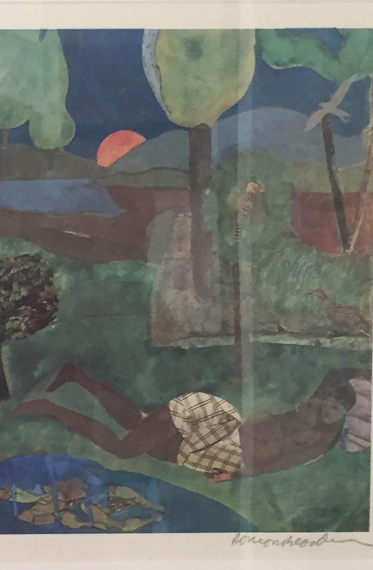 Recollection Pool African American artwork - American Modern Print by Romare Bearden