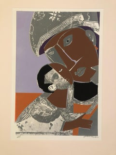 Romare Bearden 1972 Mother and Child Screenprint
