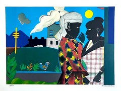 THE CONVERSATION Signed Lithograph, Black Women, Train, African American Culture