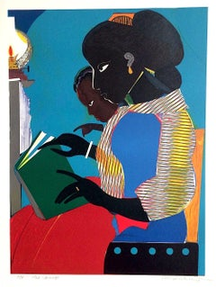 THE LAMP Signed Lithograph, Black Mother & Child Reading, Brown vs. Board of Ed.