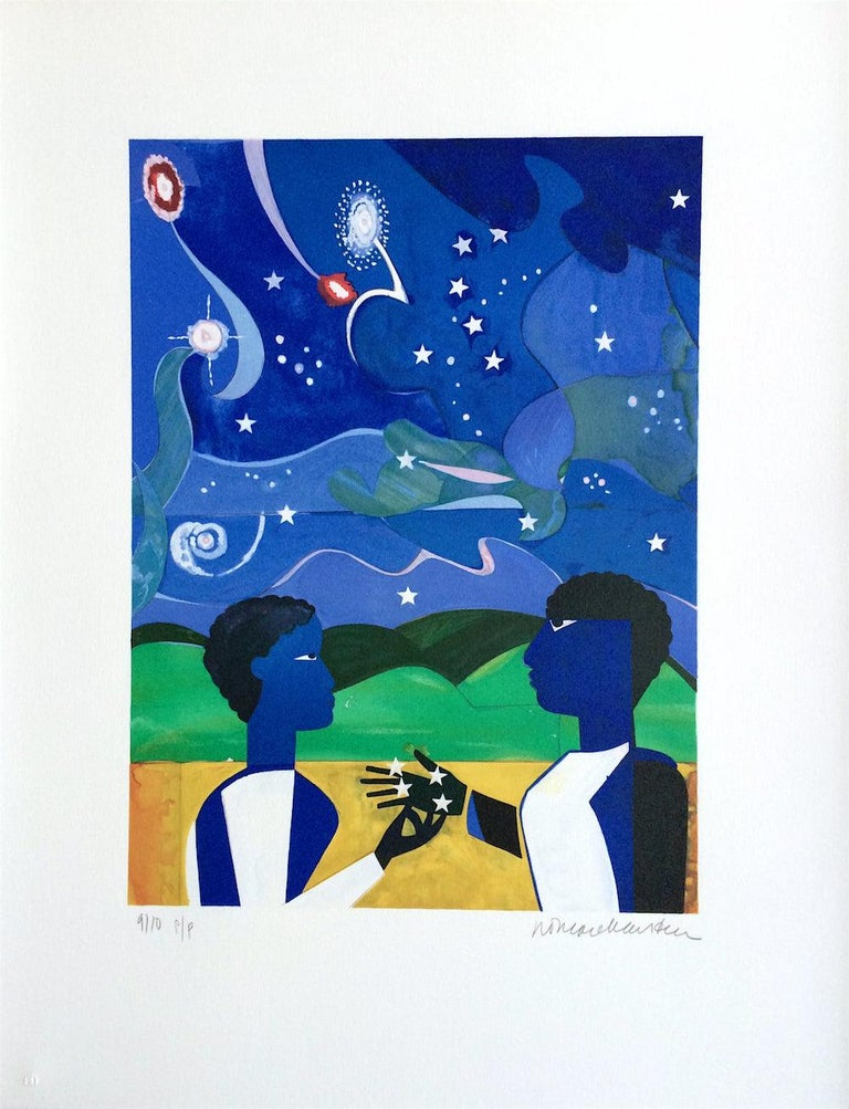 TWO WORLDS, FACES OF THE FUTURE Signed Lithograph, Collage Portrait Starry Night For Sale 2