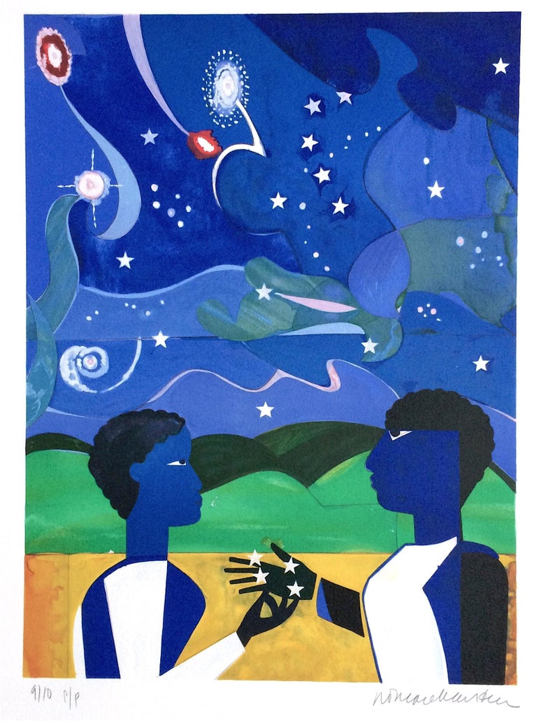 Romare Bearden Landscape Print - TWO WORLDS, FACES OF THE FUTURE Signed Lithograph, Collage Portrait Starry Night