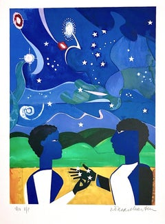 TWO WORLDS, FACES OF THE FUTURE Signed Lithograph, Collage Portrait Starry Night