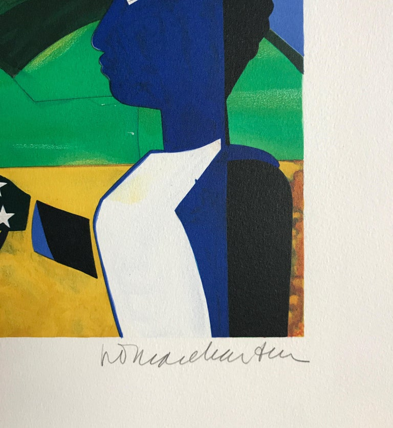 Two Worlds, Faces Of The Future, Signed Lithograph, Starry Night - Contemporary Print by Romare Bearden