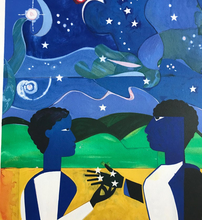 Two Worlds, Faces Of The Future is a hand drawn, limited edition color lithograph printed using hand lithography techniques on archival Arches printmaking paper, 100% acid free, by the renowned African American artist Romare Bearden. Two Worlds,
