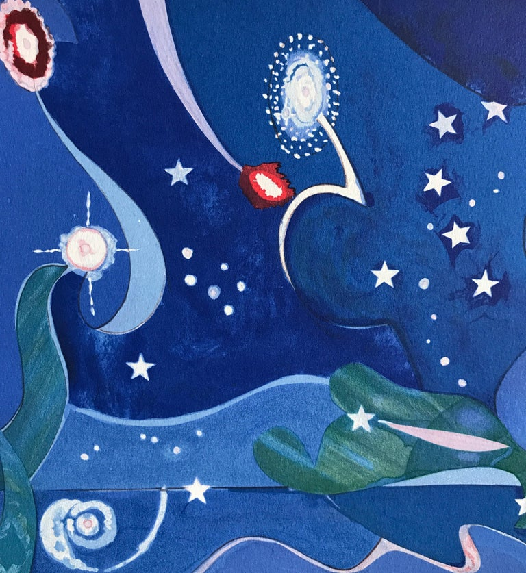 Two Worlds, Faces Of The Future, Signed Lithograph, Starry Night For Sale 1