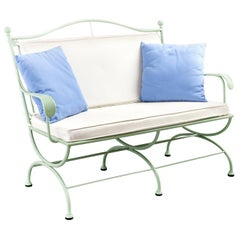Rombo Outdoor Green Wrought Iron Sofa