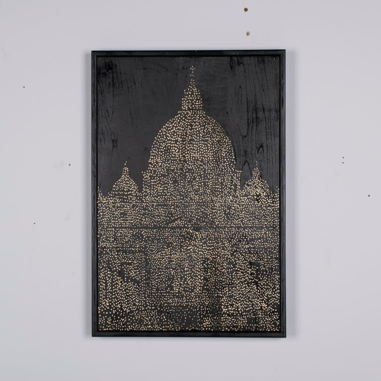 """This painting, like most of Ren Hui's exquisite artworks, celebrates his subjects using a style that he calls """"uncomplicated and honest."""" The beautiful pattern of white carved out of a painted black background, is called"""