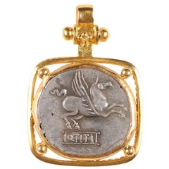Rome, Ancient Pegasus Coin Set Artfully in 22-Karat Gold Necklace Pendant