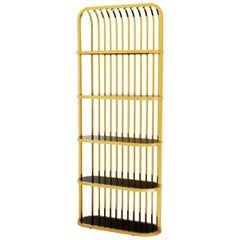 Romeo Cabinet Gold Finish and Black Glass