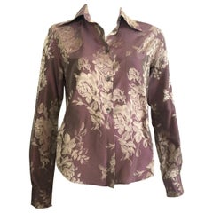 Romeo Gigli 1990s Silk Rose Print Long Sleeve Blouse Size 8.