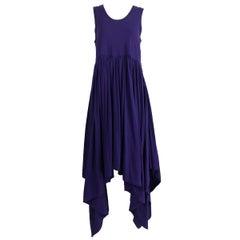 Romeo Gigli Aubergine Cotton Knit Asymmetrical Hem Dress