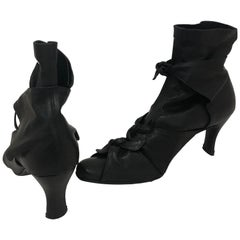 Romeo Gigli Black Leather Booties 36.5