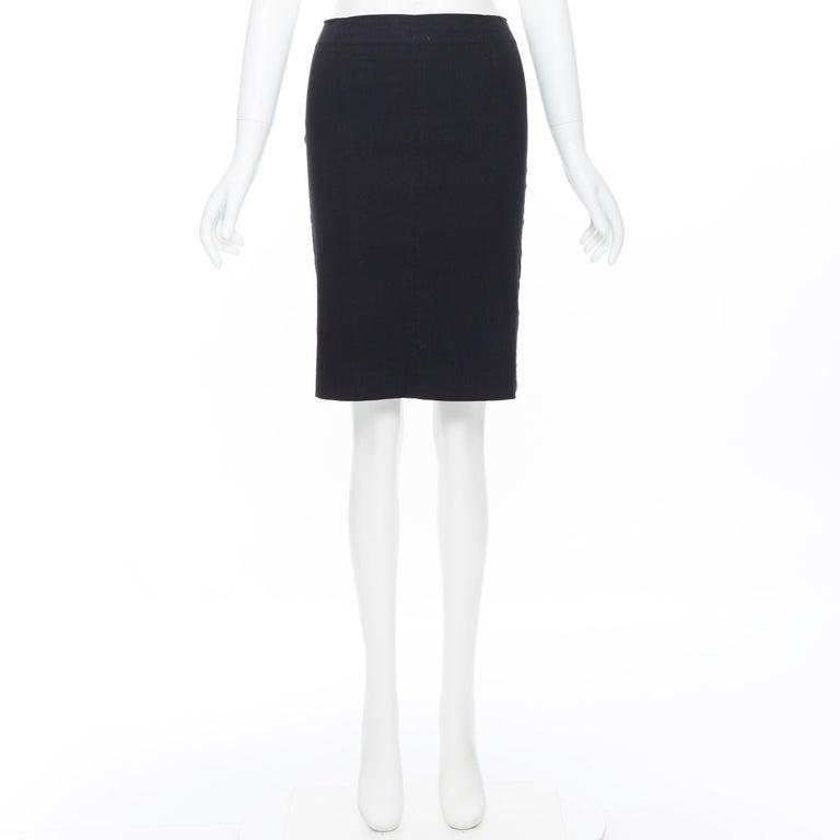 Black ROMEO GIGLI black stretch minimalist dart pencil skirt IT38 XS 23